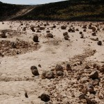 Dried mud and volcanic rocks inside Amboy Crater.