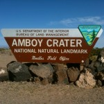 Entrance to the parking lot at Amboy Crater.
