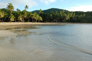 Low tide off the beach at Papageno Resort.