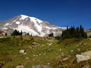 View of the peak of Mount Rainier.