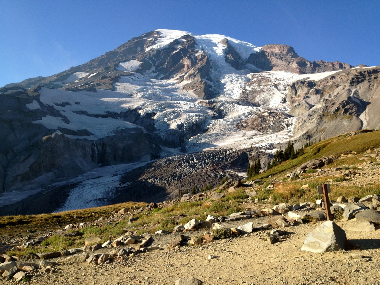 View of Nisqually Glacier at Glacier Vista near Paradise in Mount Rainier National Park.