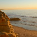 Cliffs, beach and Pacific Ocean at Torrey Pines State Reserve.
