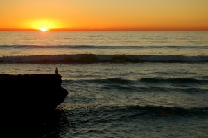 Sunset over the Pacific Ocean at Torrey Pines State Reserve.