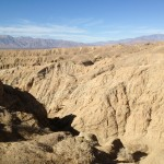Looking down into the slot canyon in Anza Borrego Desert State Park.