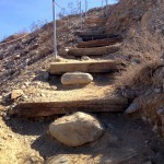 Stairs lead to the Horseshoe and Hidden Palms hike in the Coachella Valley Preserve.