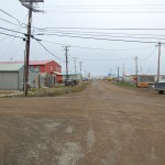 Typical dirt street in Barrow, Alaska