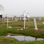 Cemetery and satellite dishes south of the airport in Barrow, Alaska