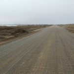 Road leading back to town from the spit in Barrow, Alaska