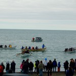 Whaling boat race on the beach of the Arctic Ocean in Barrow, Alaska