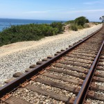 View of the train tracks and the Pacific Ocean along the Carpinteria Bluffs Trail