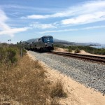 The Amtrak Surfliner travels along the Carpinteria Bluffs Trail