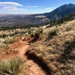 Heading down the East Ridge Trail from the peak of Mount Sanitas