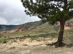 View of Red Rocks Amphitheatre from the Dakota Ridge Trail near Morrison, Colorado