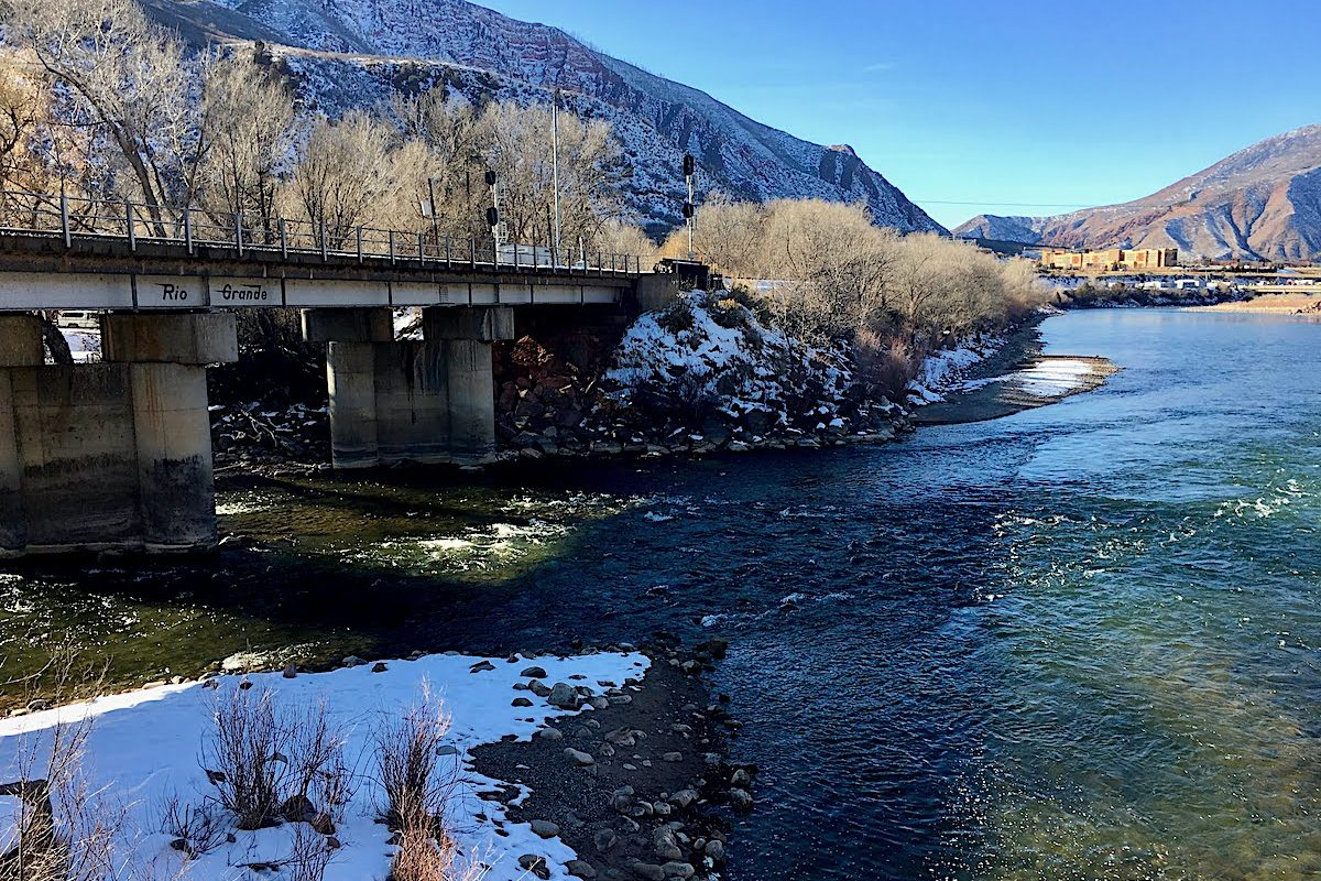 Colorado River meets the Roaring Fork River in Glenwood Springs, Colorado